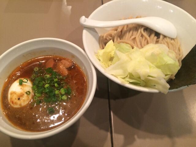 つけ麺 五ノ神製作所2015年4月のエビ味噌つけ麺+味付玉子